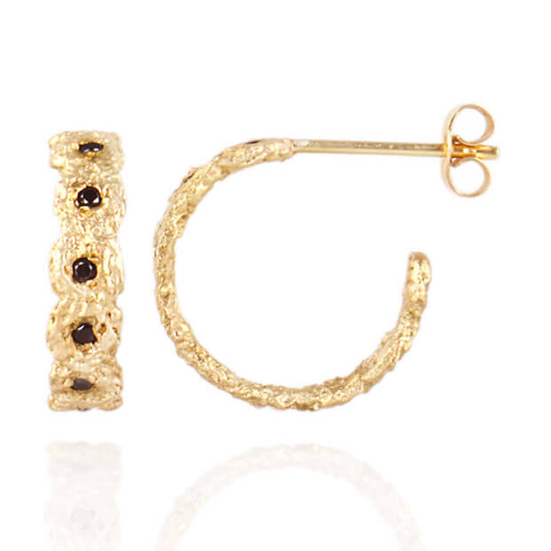 18kt Gold Shisha Crown Hoop Earings V2