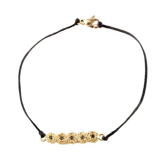 18k-Yellow-Shisha-Line-Bracelet-Black-Diamonds-Black-Cord